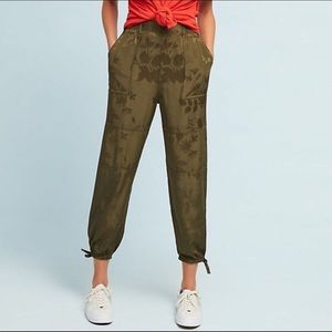 Anthropologie silky embossed utility jogger pants